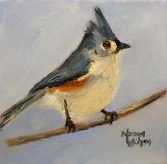 Tufted Titmouse Original Oil Bird Painting -- Norma Wilson