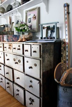 Gorgeous drawers and beautiful vintage objects