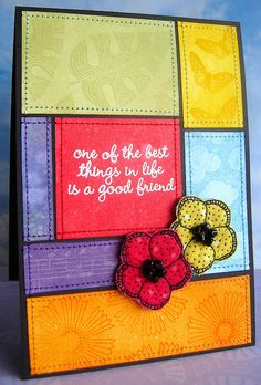 handmade card: Rainbow of Friends by heather maria ... patchwork quilt design with rainbow colors ... machine stitched around all edges ... sweet sentiment ... cloth flowers with buttonhole stitched edges and seed beads at center ... luv the bright colors  ...