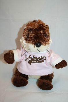 "River Otter Plush Arkansas Souvenir 7"" Stuffed Animal Toy Pink Shirt My Town Kid"