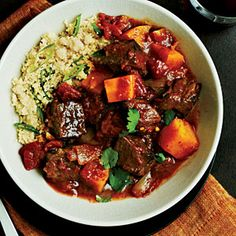 Beef Tagine with Butternut Squash - A staple recipe in the winter. Except I do it in the crock pot - cut up the beef, coat in seasonings, brown in a skillet, then add it all to the crock pot, low for 8-10 hours.