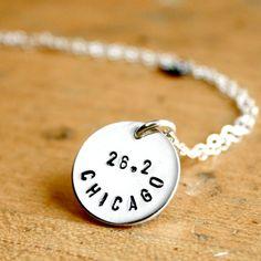Sterling Silver 26.2 necklace - Chicago marathon hand stamped running ...