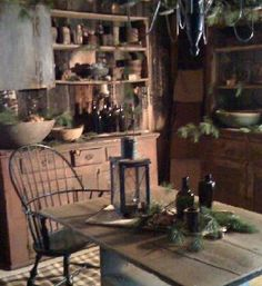 decor, countri primit, dining rooms, kitchen sink, primitive country, log cabins, kitchen design, windsor chairs, primitive kitchen
