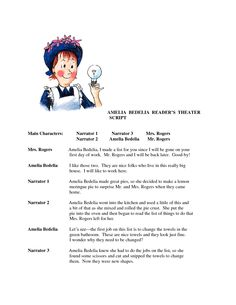 worksheets ameleia bedelia | Amelia Bedelia reader's theater