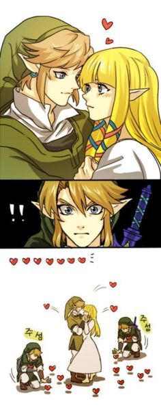 Link + Zelda and the hearts that follow <3 <3<3 <3