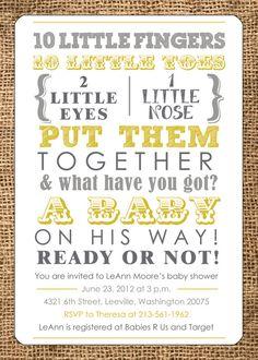 Baby Shower Invitation - Gender Neutral