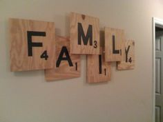 diy wall art - stencil letters and numbers to wood for fun scrabble art