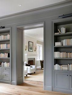 color, gray interior design, gray walls, cabinet, bookcas