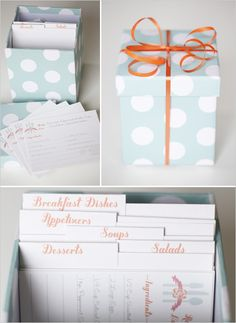 Bridal shower recipe box. Send a blank card out with all the invitations then everyone write their favorite recipe ad brings it to the shower.