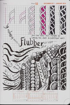 Flubber-tangle pattern by molossus, who says Life Imitates Doodles, via Flickr
