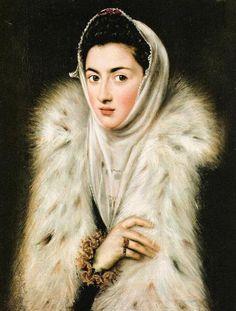 La dama del armiño o La Infanta Catalina Micaela con abrigo de piel, atribuido al Greco  Datecirca 1577-1578