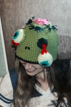 Crochet Zombie Hat: I merged a few ideas I have seen online into this hat, I'm pleased with my first attempt, and it shall go to someone who has loved zombies before loving zombies was cool! :)