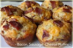 bacon, sausage, cheese, egg muffins #muffintin recipe #breakfast