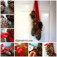 doors, cone decor, christmas door decorations, christmas decorations, christma decor, collages, hangers, cone christma, pine cone crafts