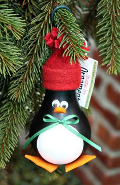 Penguin Christmas Tree Ornament - made from a recycled lightbulb