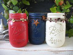 Mason Jars, Decorative Mason Jars, Red, White & Blue Mason Jars, Rustic Home Decor, Summer Party Decor, Patriotic Holiday Decorations