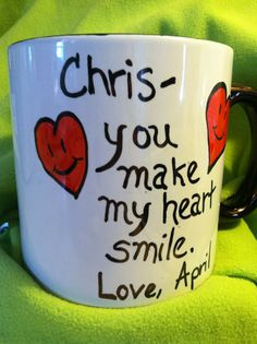 Immediately thought of you guys... This April Married a Chris too! 20 OZ  Valentines Day Mug You Make My by FromTheCoast2TheCity