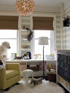 I like the colors in this room and think that it is neutral enough nursery design, nurseries, light fixtures, windows, striped walls, shelv, stripes, kid room, babies rooms
