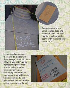 """The classic """"crime scene"""" prom ask will never get old!"""