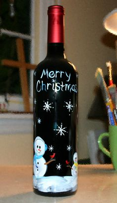 hand painted glass art hand painted snowman on wine bottle