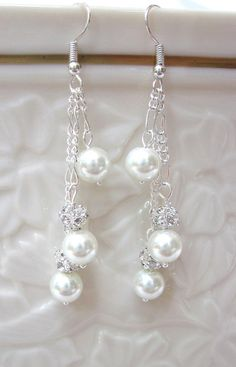 Bridal Earrings of White Pearls - Dangles