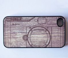 Camera-style wooden iPhone case