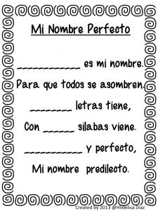 Name poem in English & Spanish