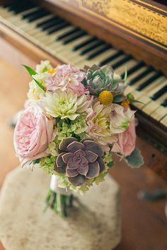 beautiful succulent and hydrangea bouquet