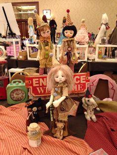 Nikki Britt Studio's MSD BJDs Peter Pickle, Wendy Weird & Phoebe as clowns  at BJDC 2014 Austin, TX.  Clown outfits by Sweet Creations, aged by Nikki.
