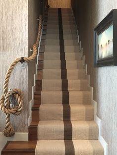 nautical staircase, rope rail, nautical basement, stair decor, hous