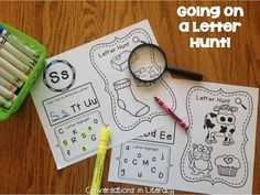 Letter Hunts-Students have fun with highlighters and magnifying glasses while learning ABCs!