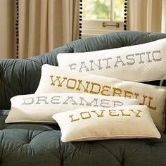 The Emily + Meritt Shimmer Needlepoint Word Pillow