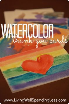 watercolor thank you cards--fun & easy craft project for kids (great language arts lesson too!) #kids #crafts #homeschool
