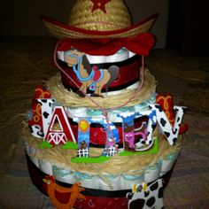 Cowboy style Diaper cake! like the name on it