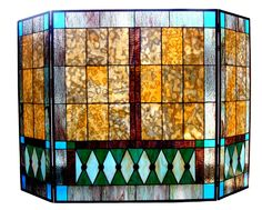 Tiffany Style Stained Glass Fireplace Screen - FREE SHIPPING