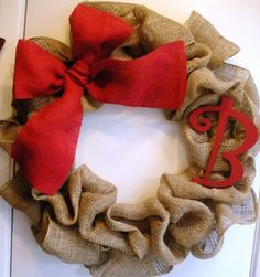 christmas wreaths, christmas time, burlap wreaths, burlap christmas, initials, colors, front doors, bows, the holiday