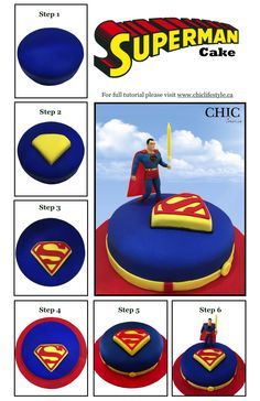 Superman cake step by step tutorial at www.chiclifestyle.ca