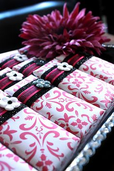 Black and Hot Pink Damask Chocolate Favors - via Haute Chocolate Favors