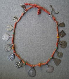 Old silver, coral, amber and amazonite berber necklace