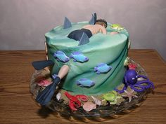 snorkler cake. cool idea for some1 who loves tropical themes or who is having a beach theme party!
