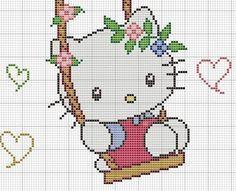 Hello Kitty on Swing Hama Perler Bead Pattern