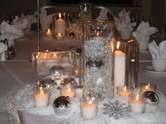 winter wedding candle centerpieces