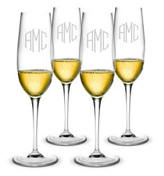 Monogrammed Bormioli Champagne Flute Glass Set