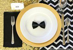 blue bowti, bow ties, dinner parties, place set