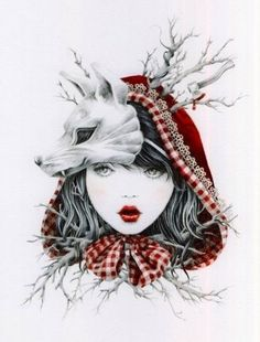 fox, little red, red riding hood, red ride, art, red lips, forest, tattoo, ride hood
