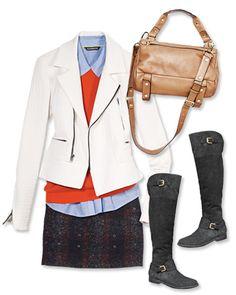 Sweater: H&M, $60; hm.com. Shirt: Express, $40; express.com. Jacket: Marna Ro, $449; at Elyse Walker, 310-230-8882. Skirt: Edun, $295; at Gretta Luxe, 781-237-7010.  Satchel: Golden Lane, $565; shobop.com. Boots: Lauren Ralph Lauren, $299; macys.com.