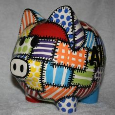 Piggy Bank Quilted Colors by Zipote on Etsy, $50.00