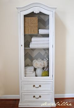 Painted chevron pattern inside cabinet
