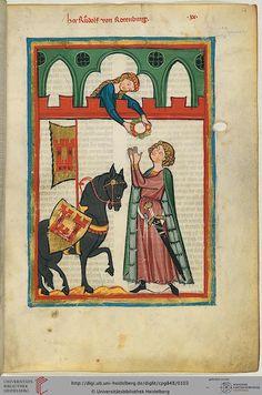 Codex Manesse, Herr Rudolf von Rotenburg, Fol 054r, c. 1304-1340