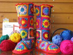 crochet granny squares, pattern, crochet slippers, crochet squares, color combinations, hous, granni squar, christma, boots
